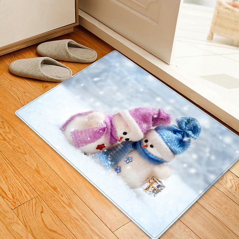 Christmas Snowman Lover Pattern Anti-skid Water Absorption Area RugHOME<br><br>Size: W16 INCH * L24 INCH; Color: WHITE; Products Type: Bath rugs; Materials: Flannel; Pattern: Snowman; Style: Festival; Shape: Rectangle; Package Contents: 1 x Rug;