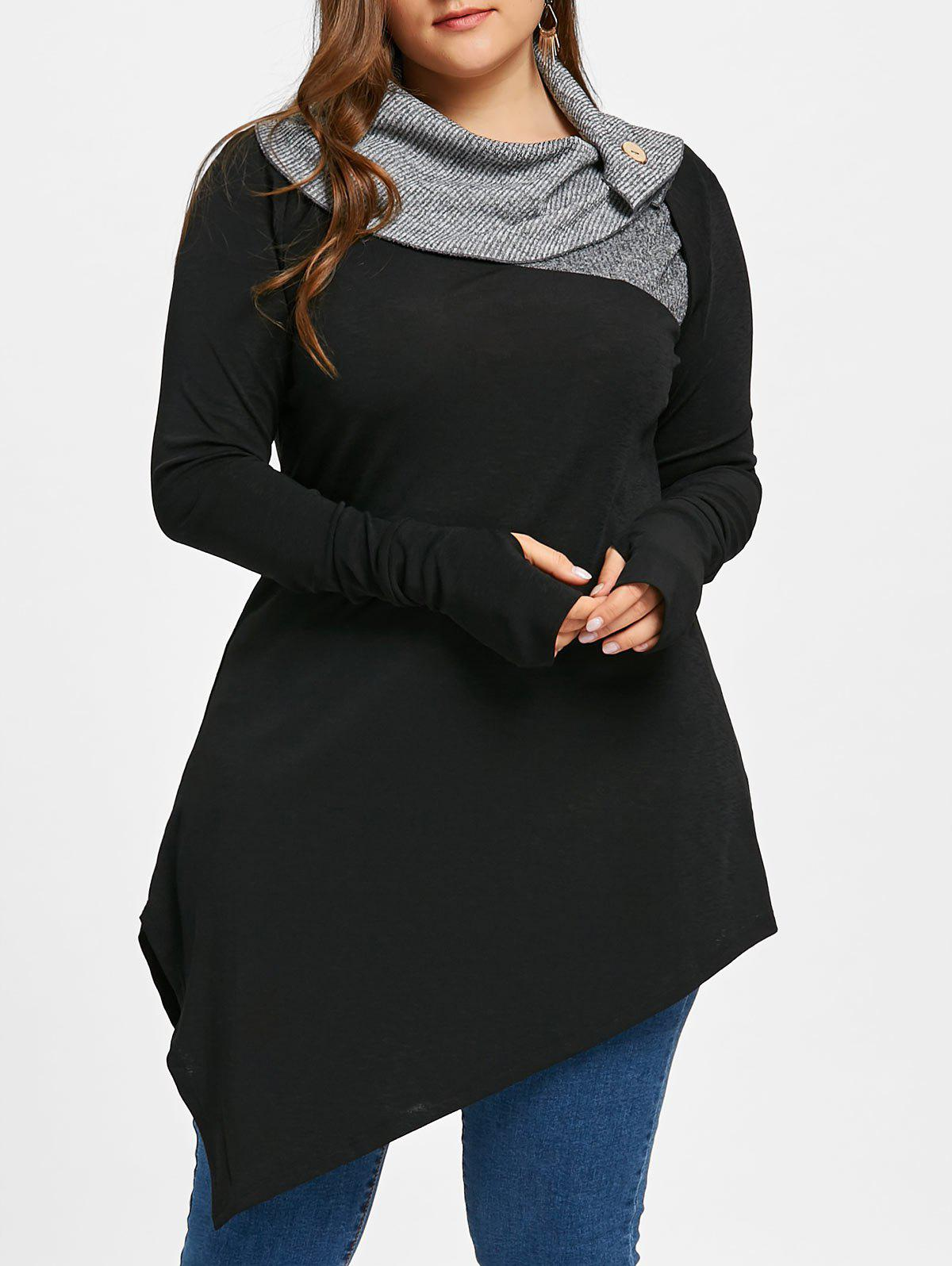 Plus Size Thumb Hole Asymmetrical Longline TopWOMEN<br><br>Size: XL; Color: BLACK; Material: Polyester; Shirt Length: Long; Sleeve Length: Full; Collar: Turn-down Collar; Style: Casual; Season: Fall,Spring; Embellishment: Button; Pattern Type: Solid; Weight: 0.4200kg; Package Contents: 1 x Top;
