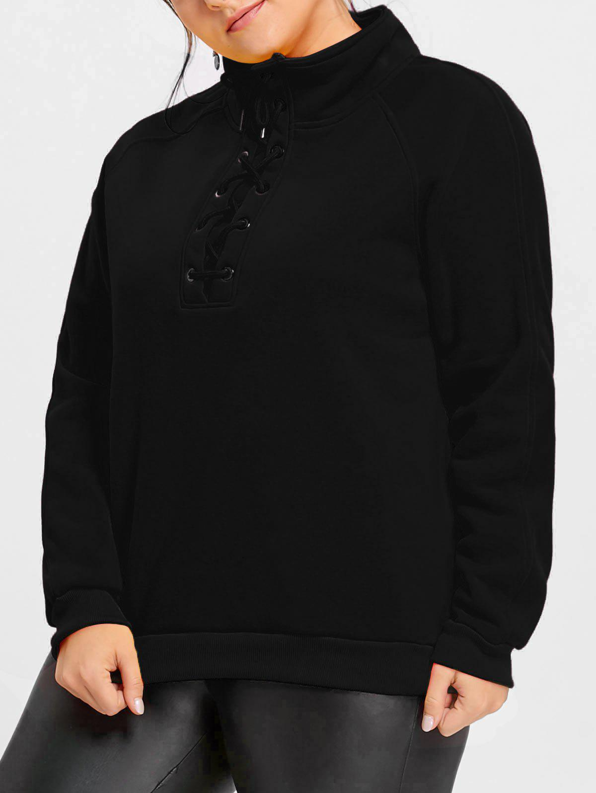 Hot Plus Size Lace Up Fleece Lined Sweatshirt