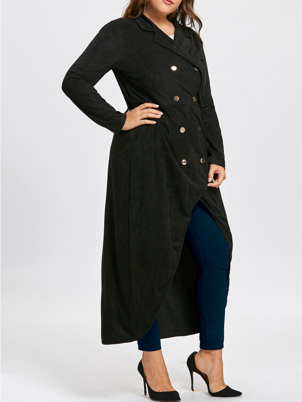 Plus Size Double Breast Long High Low CoatWOMEN<br><br>Size: 5XL; Color: BLACK; Clothes Type: Trench; Material: Polyester; Type: Asymmetric Length; Shirt Length: Long; Sleeve Length: Full; Collar: Lapel; Closure Type: Double Breasted; Pattern Type: Solid; Embellishment: Button,Vintage; Style: Fashion; Season: Fall,Winter; Weight: 1.0500kg; Package Contents: 1 x Coat;