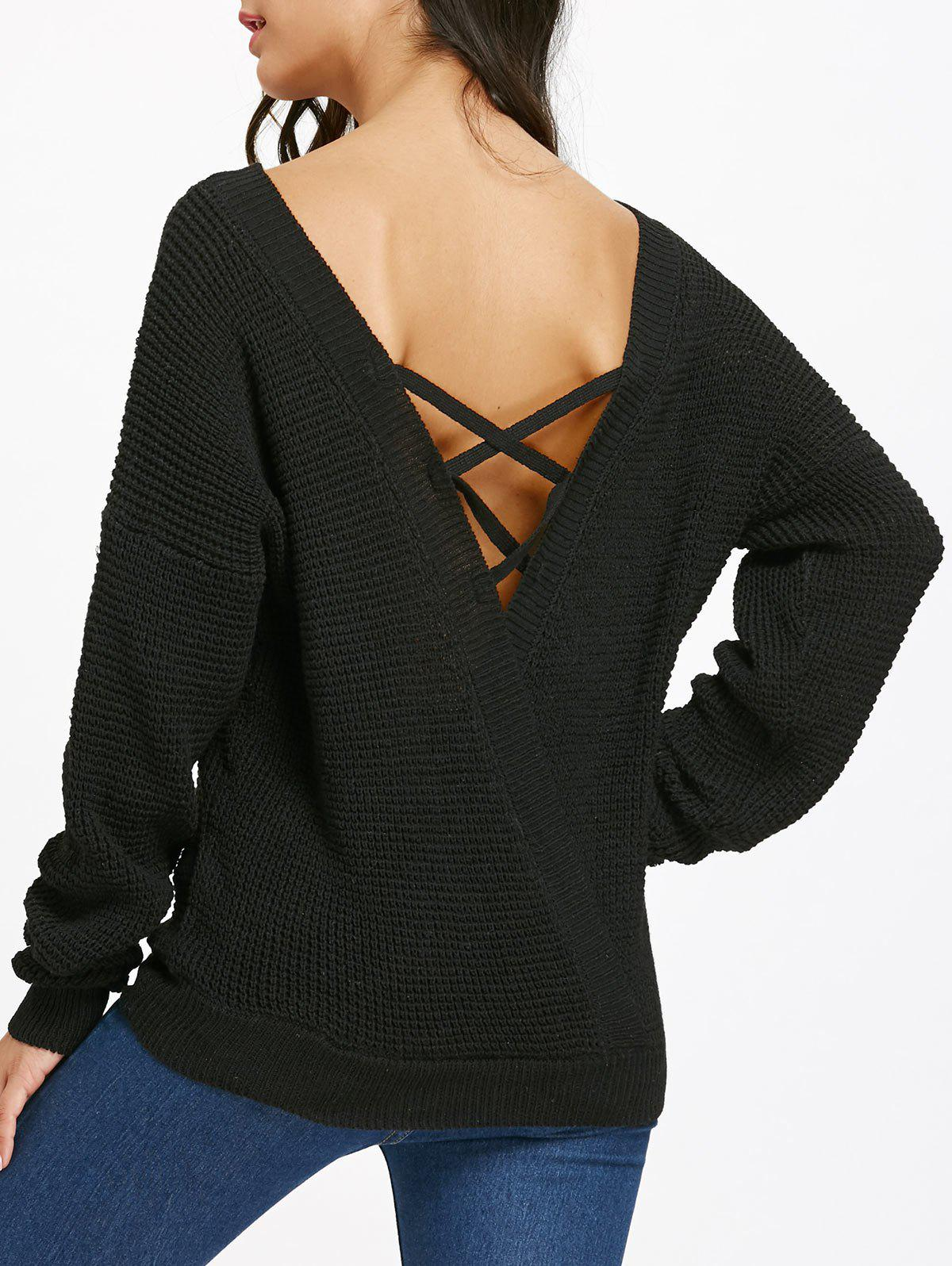 Chic Criss Cross Backless Drop Shoulder Jumper Sweater