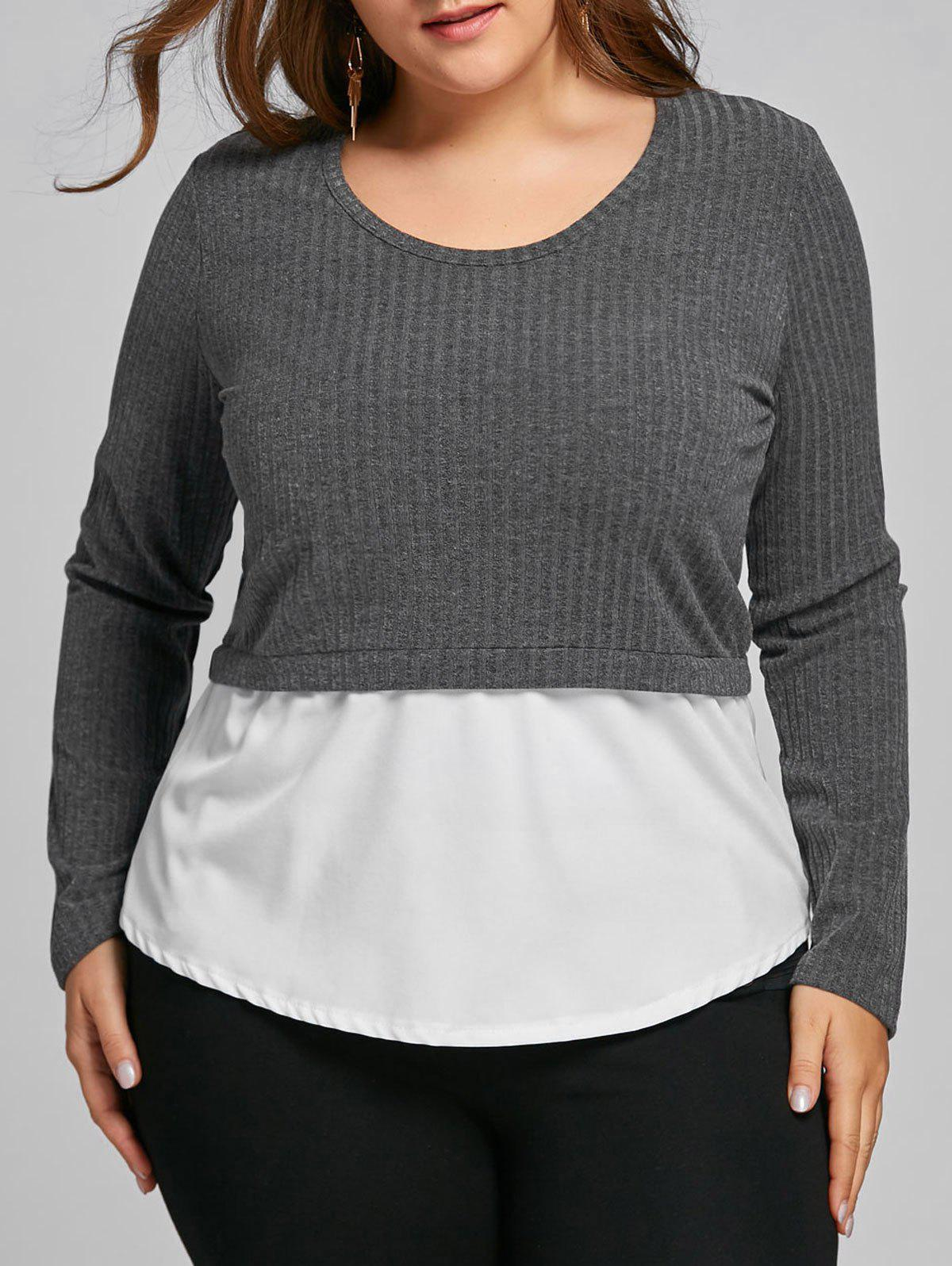 Shops Plus Size Two Tone High Low Blouse