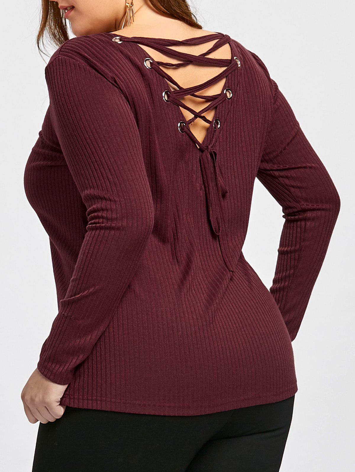 Buy Plus Size Lace Up Cutout Top