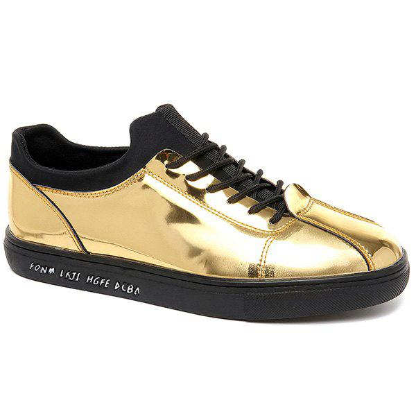 Affordable Stretch Fabric Patent Leather Casual Shoes