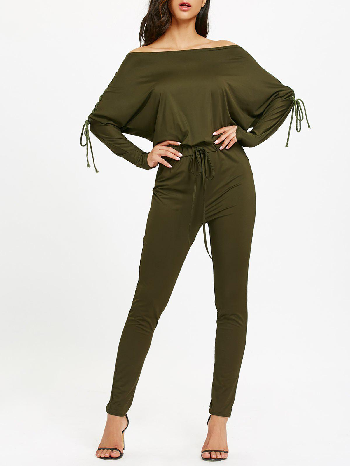 Lace Up Off The Shoulder High Waist JumpsuitWOMEN<br><br>Size: M; Color: ARMY GREEN; Material: Polyester; Fit Type: Skinny; Pattern Type: Solid; Embellishment: Criss-Cross; Style: Fashion; Season: Fall,Spring,Winter; With Belt: No; Weight: 0.5100kg; Package Contents: 1 x Jumpsuit;