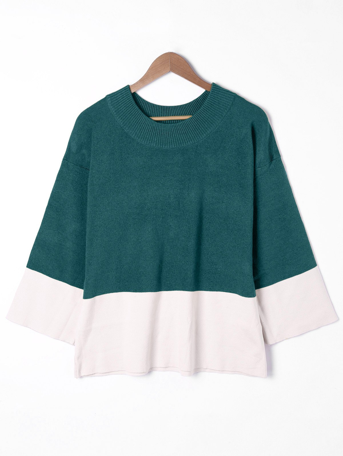 New Plus Size Two Tone Drop Shoulder Sweater