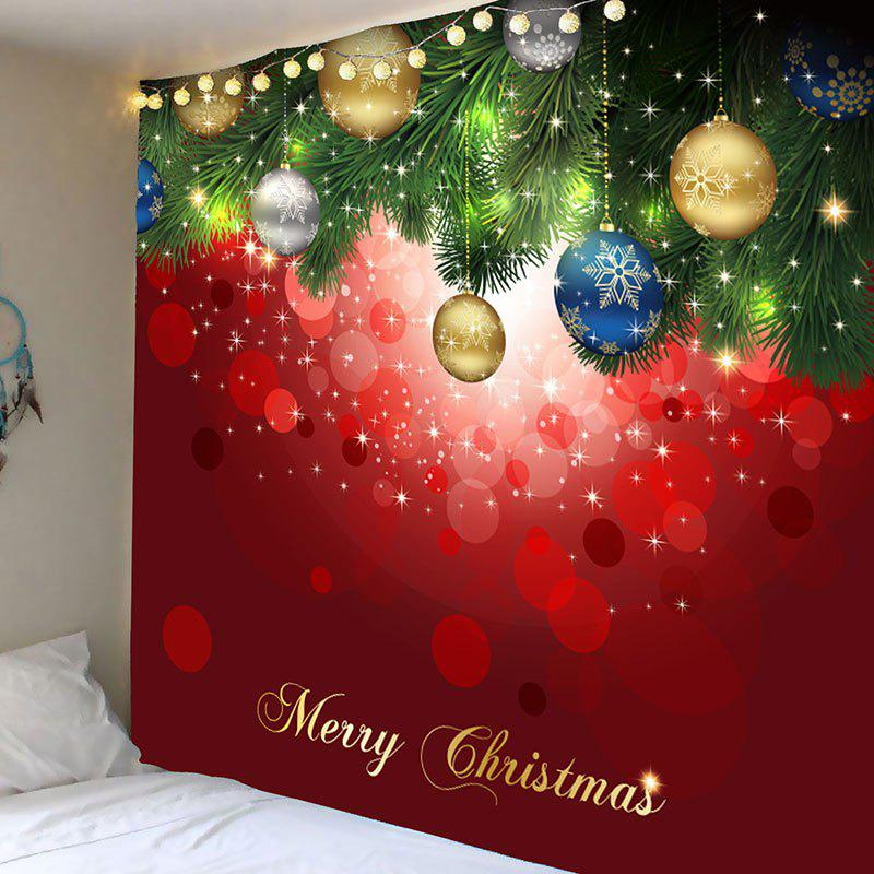 Wall Art Christmas Hanging Balls Patterned TapestryHOME<br><br>Size: W79 INCH * L59 INCH; Color: RED AND GREEN; Style: Festival; Theme: Christmas; Material: Polyester; Feature: Removable; Shape/Pattern: Ball; Weight: 0.3100kg; Package Contents: 1 x Tapestry;