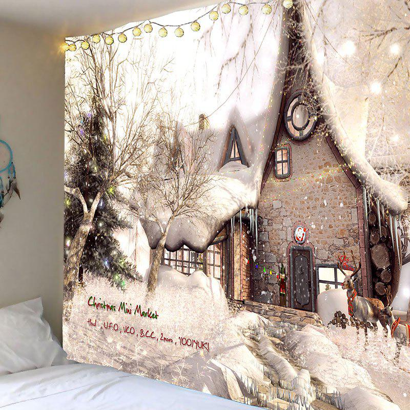 Christmas White Snow House Printed Wall Art TapestryHOME<br><br>Size: W91 INCH * L71 INCH; Color: WHITE AND BROWN; Style: Festival; Theme: Christmas; Material: Polyester; Feature: Removable,Washable; Shape/Pattern: Buildings,Snow; Weight: 0.4200kg; Package Contents: 1 x Tapestry;