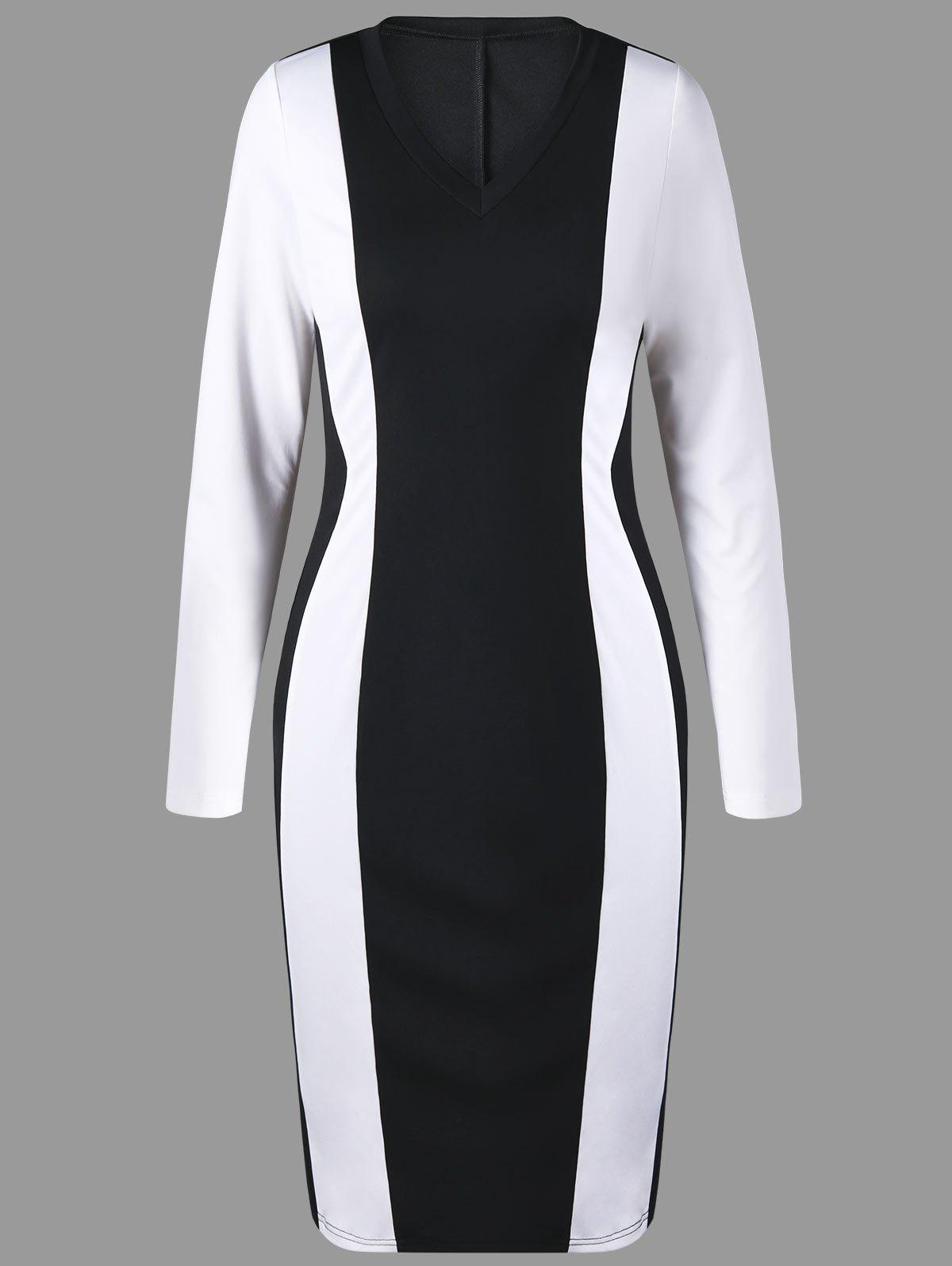 Affordable V Neck Two Tone Pencil Dress