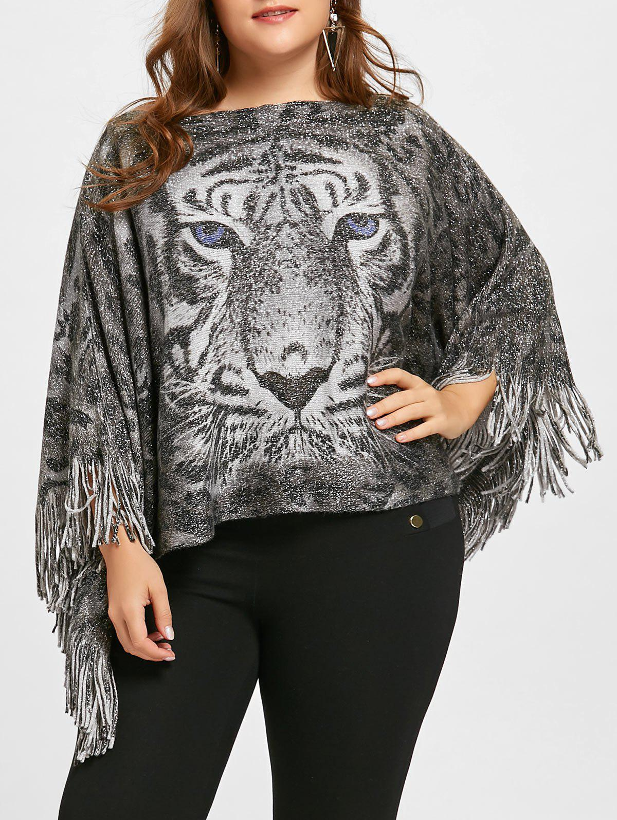 Fashion Tiger Printed Glitter Fringed Plus Size Poncho Sweater