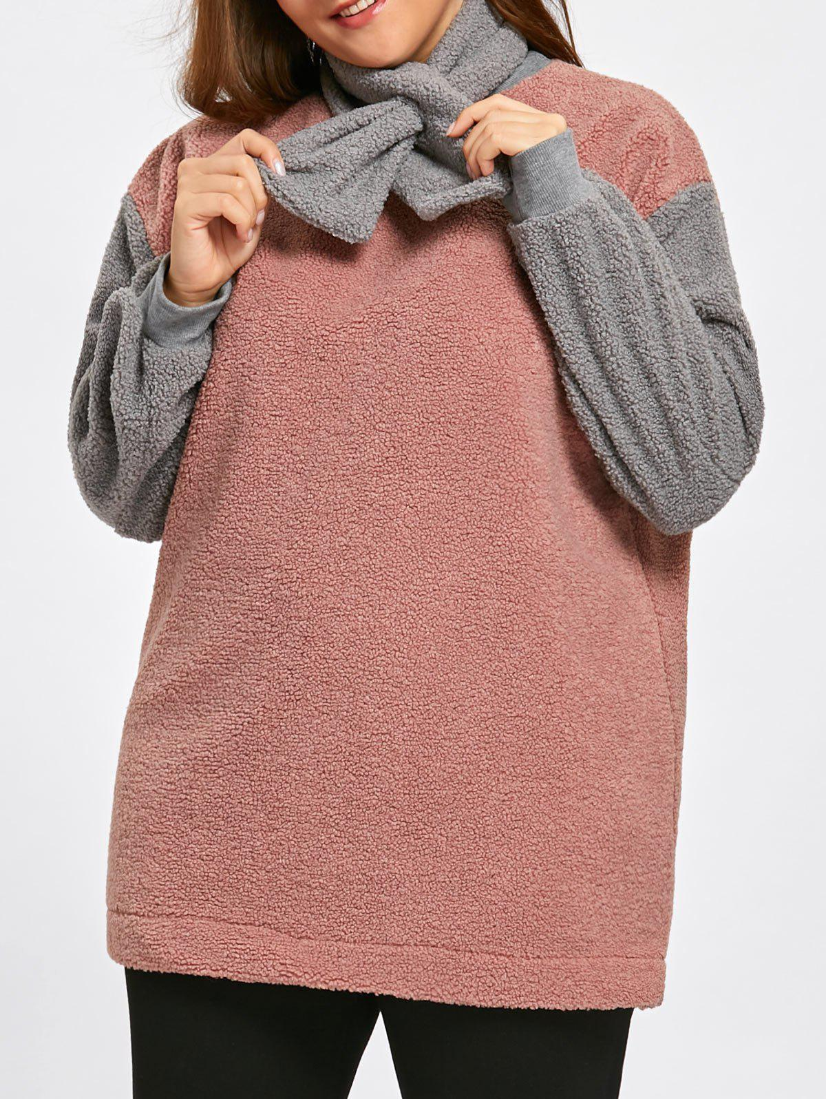 Outfit Color Block Plus Size Fleece Sweatshirt with Scarf
