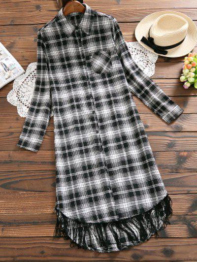 Affordable Plaid Long Sleeve Fringe Shirt Dress