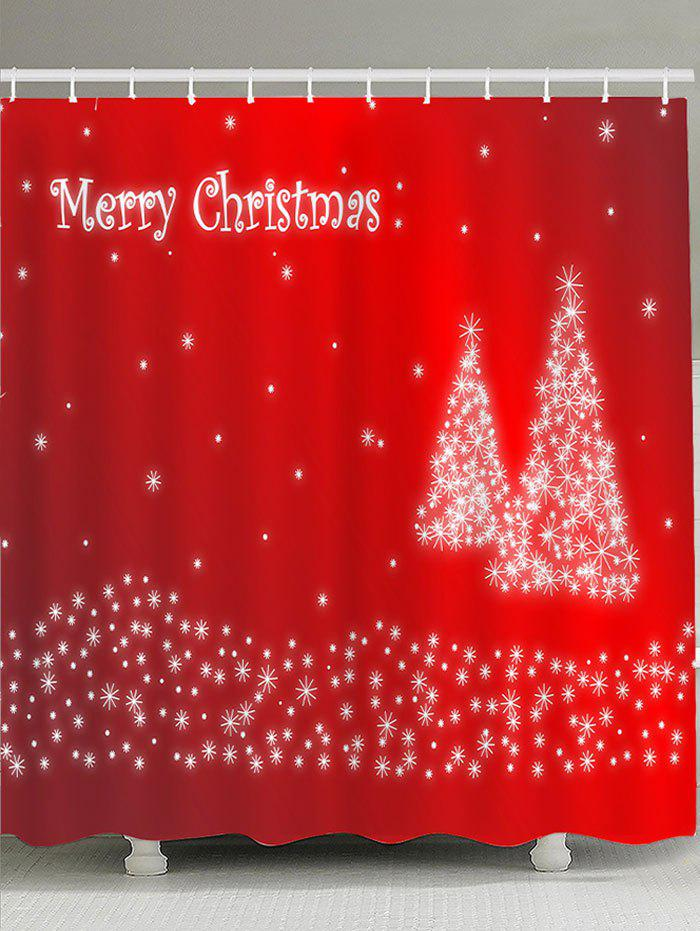 Waterproof Christmas Snowflake Tree Printed Shower CurtainHOME<br><br>Size: W71 INCH * L71 INCH; Color: WATER RED; Products Type: Shower Curtains; Materials: Polyester; Pattern: Christmas Tree; Style: Festival; Number of Hook Holes: W59 inch*L71 inch: 10; W71 inch*L71 inch: 12; W71 inch*L79 inch: 12; Package Contents: 1 x Shower Curtain 1 x Hooks (Set);