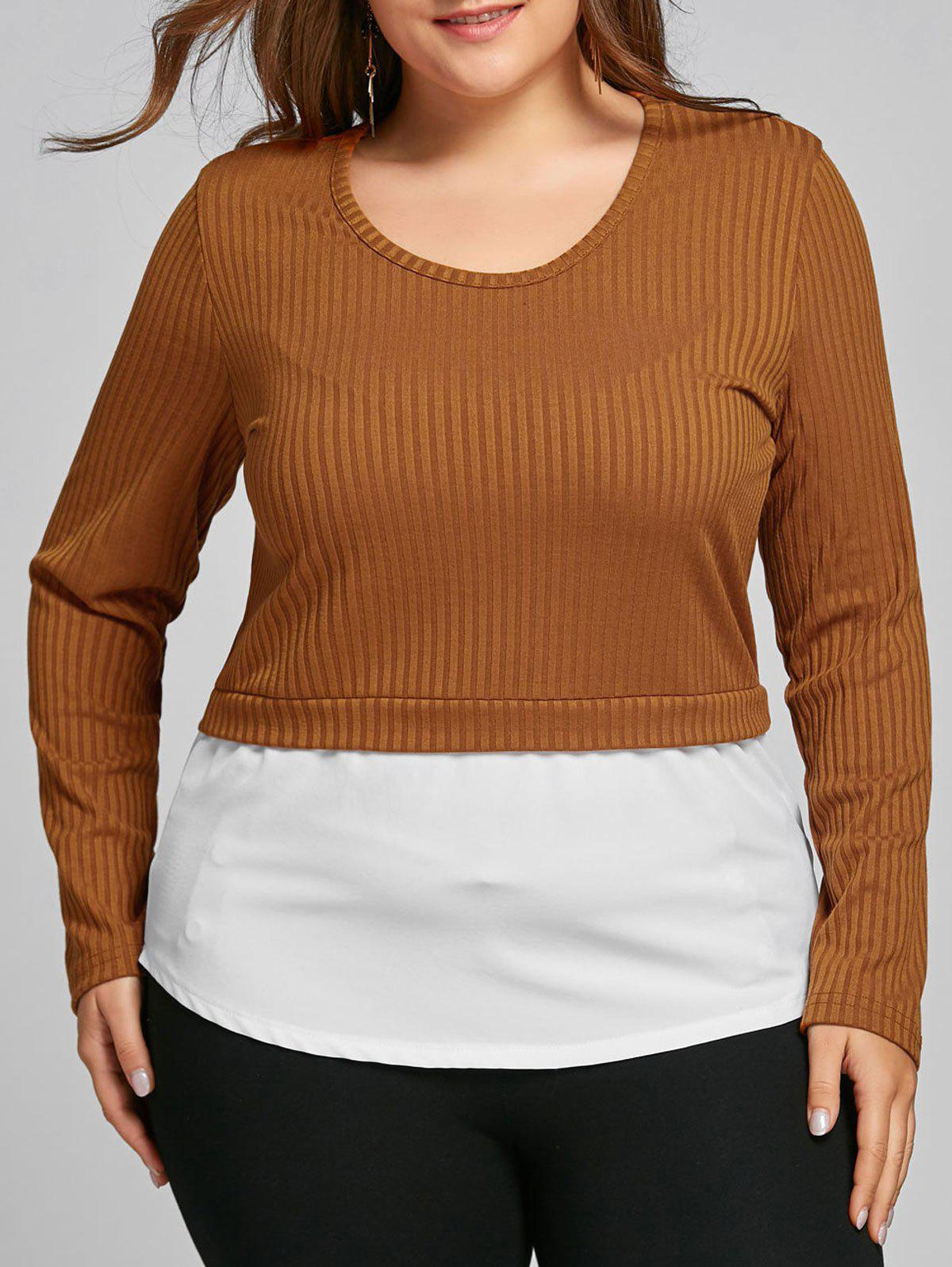 Trendy Plus Size Two Tone High Low Blouse