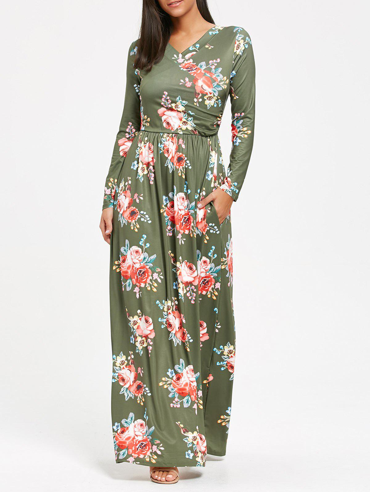e89360847f 2019 High Waist Floral Print Long Sleeve Maxi Dress