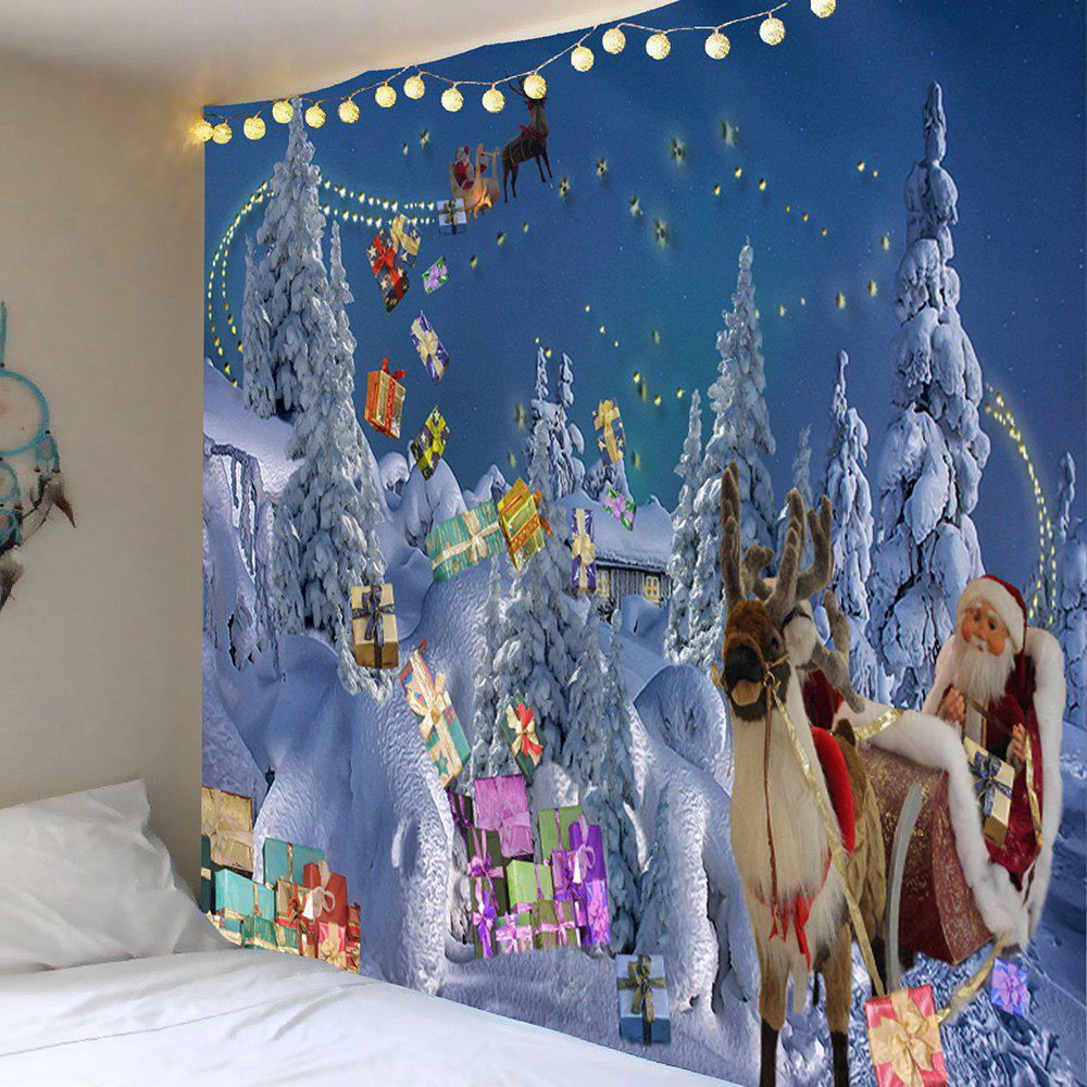 Sending Gifts Santa Claus Patterned Wall Decor Tapestry, Light blue