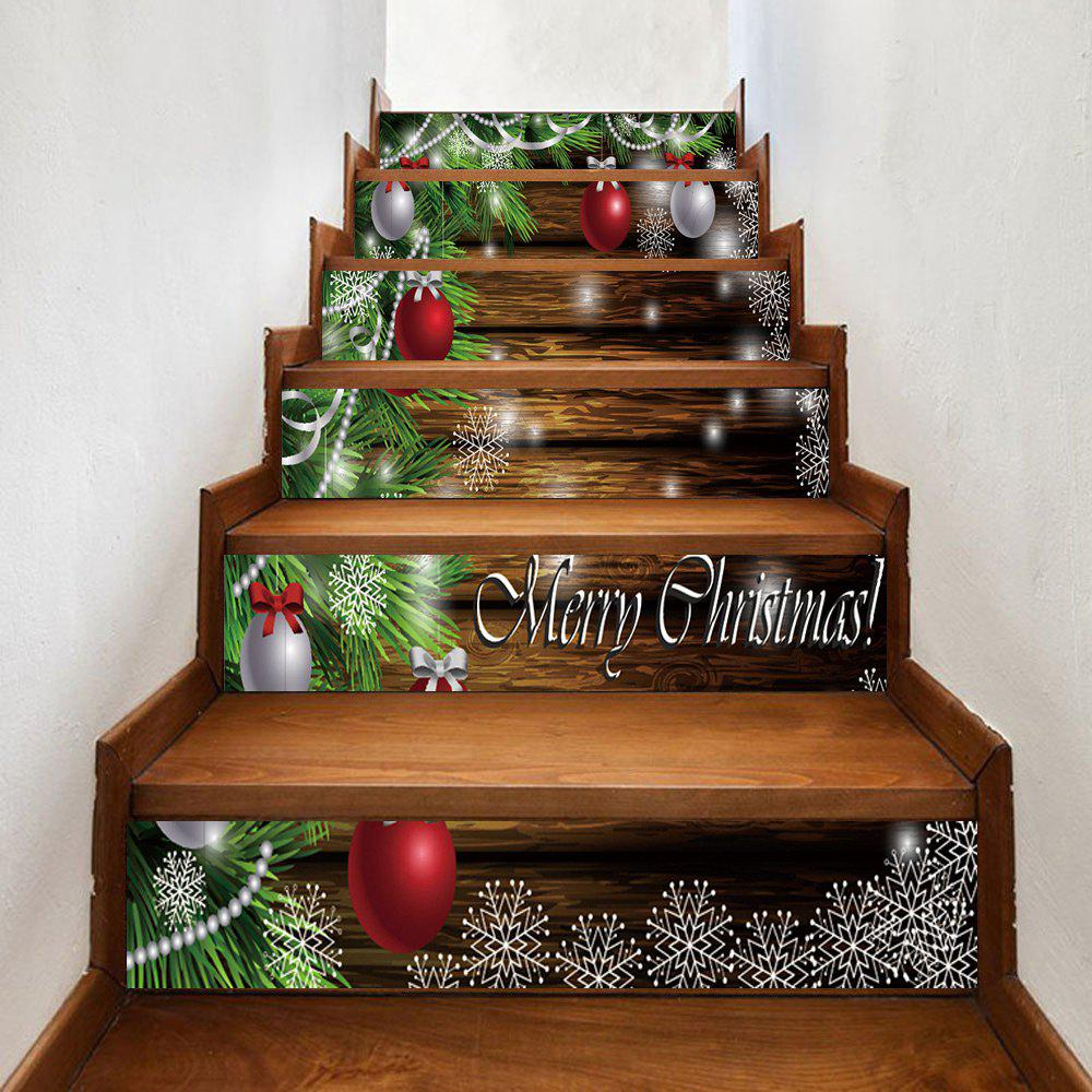 Christmas Baubles Pine Tree Pattern Decorative Stair StickersHOME<br><br>Size: 100*18CM*6PCS; Color: COLORMIX; Wall Sticker Type: Plane Wall Stickers; Functions: Stair Stickers; Theme: Christmas; Pattern Type: Ball,Letter,Plant; Material: PVC; Feature: Removable; Weight: 0.3500kg; Package Contents: 1 x Stair Stickers;