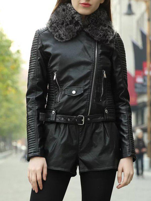 New Faux Fur Collar Zipper Jacket with Waist Belt