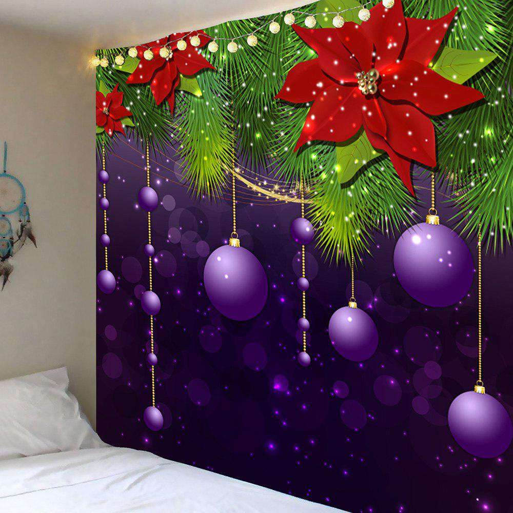 Christmas Hanging Balls Patterned Wall Decor TapestryHOME<br><br>Size: W91 INCH * L71 INCH; Color: PURPLE AND GREEN; Style: Festival; Theme: Christmas; Material: Polyester; Feature: Removable; Shape/Pattern: Ball,Floral; Weight: 0.4200kg; Package Contents: 1 x Tapestry;