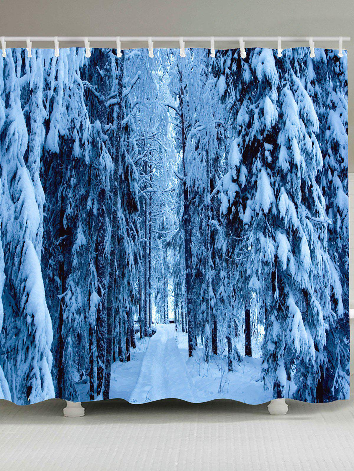 Image of Waterproof Pine Tree Snowscape Printed Shower Curtain