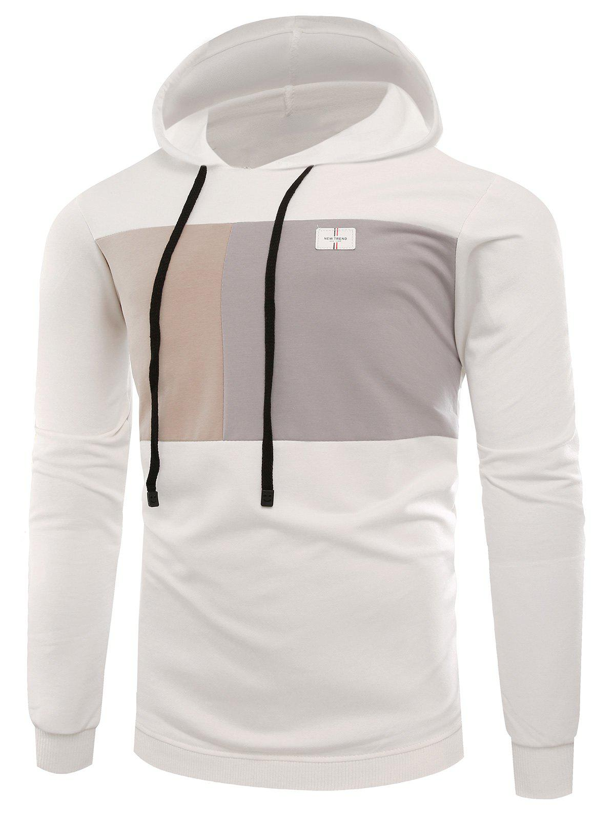 Applique Color Block Pullover HoodieMEN<br><br>Size: M; Color: WHITE; Material: Cotton,Spandex; Clothes Type: Hoodie; Shirt Length: Regular; Sleeve Length: Full; Style: Fashion; Patterns: Color Block; Thickness: Regular; Occasion: Casual ,Daily Use,Going Out; Weight: 0.4100kg; Package Contents: 1 x Hoodie;