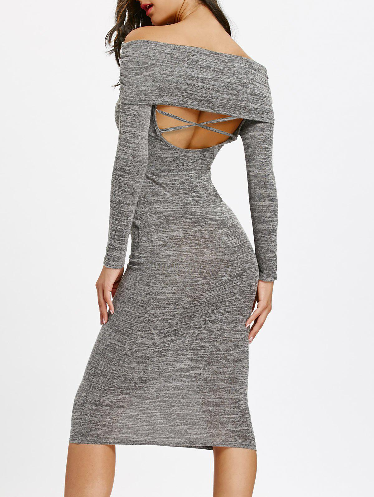 Cut Out Back Off Shoulder Midi Bodycon DressWOMEN<br><br>Size: XL; Color: GRAY; Style: Brief; Material: Polyester,Spandex; Silhouette: Bodycon; Dresses Length: Mid-Calf; Neckline: Off The Shoulder; Sleeve Length: Long Sleeves; Waist: Natural; Embellishment: Criss-Cross,Cut Out; Pattern Type: Solid Color; Elasticity: Elastic; With Belt: No; Season: Fall,Spring,Winter; Weight: 0.4000kg; Package Contents: 1 x Dress;