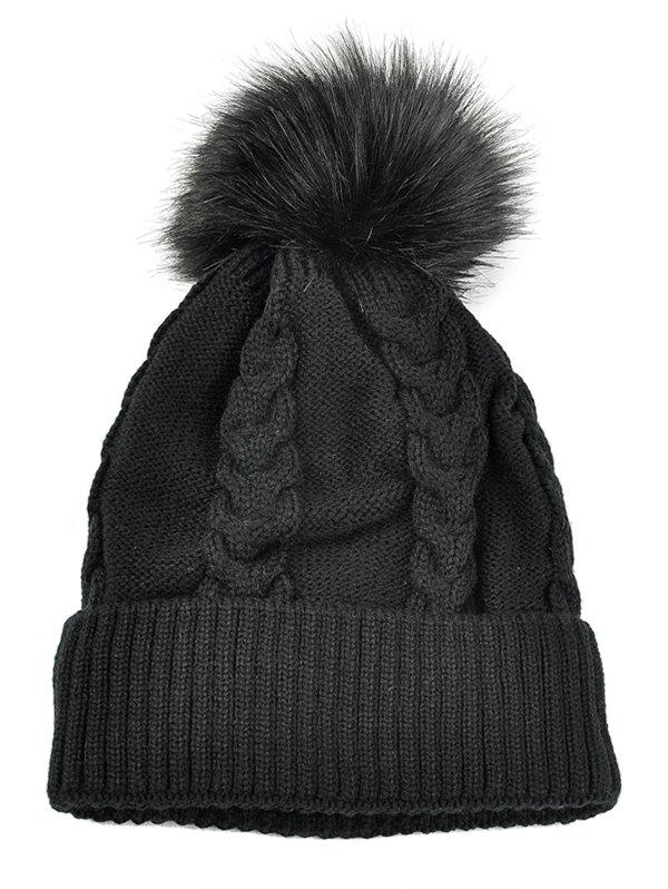 Outdoor Striped Pattern Embellished Crochet Knitted BeanieACCESSORIES<br><br>Color: BLACK; Hat Type: Skullies Beanie; Group: Adult; Gender: For Women; Style: Fashion; Pattern Type: Striped; Material: Acrylic; Weight: 0.1200kg; Package Contents: 1 x Hat;