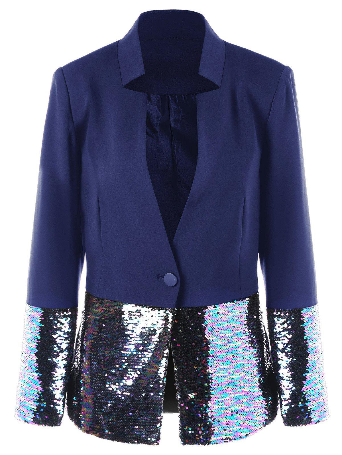 Affordable Sequined Trim One Button Blazer