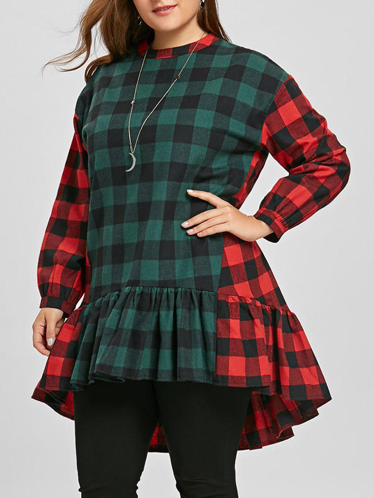Discount Flounce Plus Size Color Block Plaid Blouse