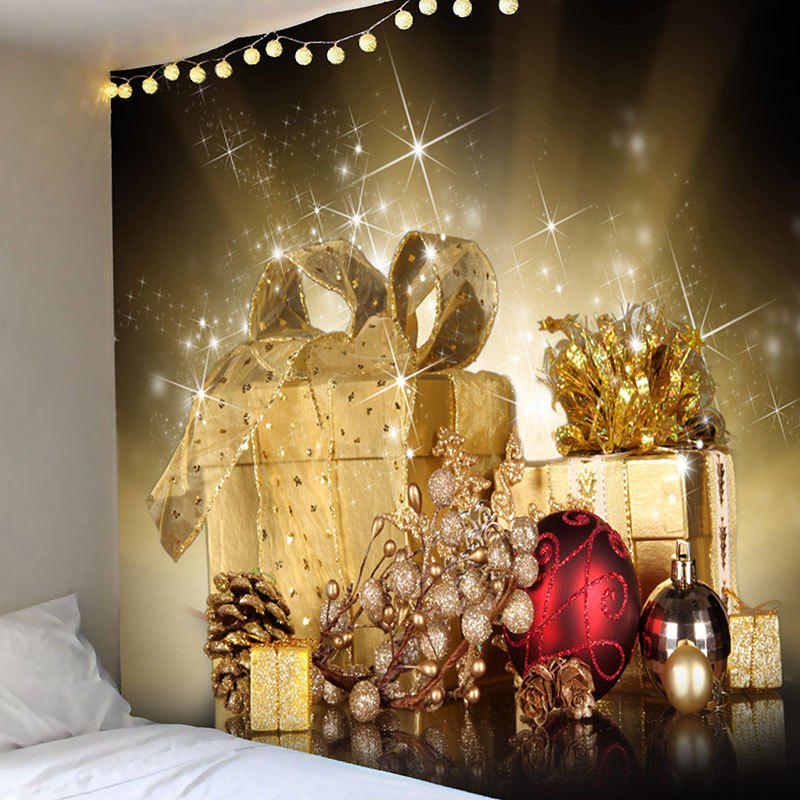 Hanging Christmas Gifts Balls Patterned Wall TapestryHOME<br><br>Size: W59 INCH * L51 INCH; Color: GOLDEN; Style: Festival; Theme: Christmas; Material: Polyester; Feature: Removable; Shape/Pattern: Ball,Gift; Weight: 0.2100kg; Package Contents: 1 x Tapestry;