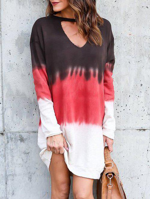 Affordable Tie Dye Ombre Cutout Tunic Dress