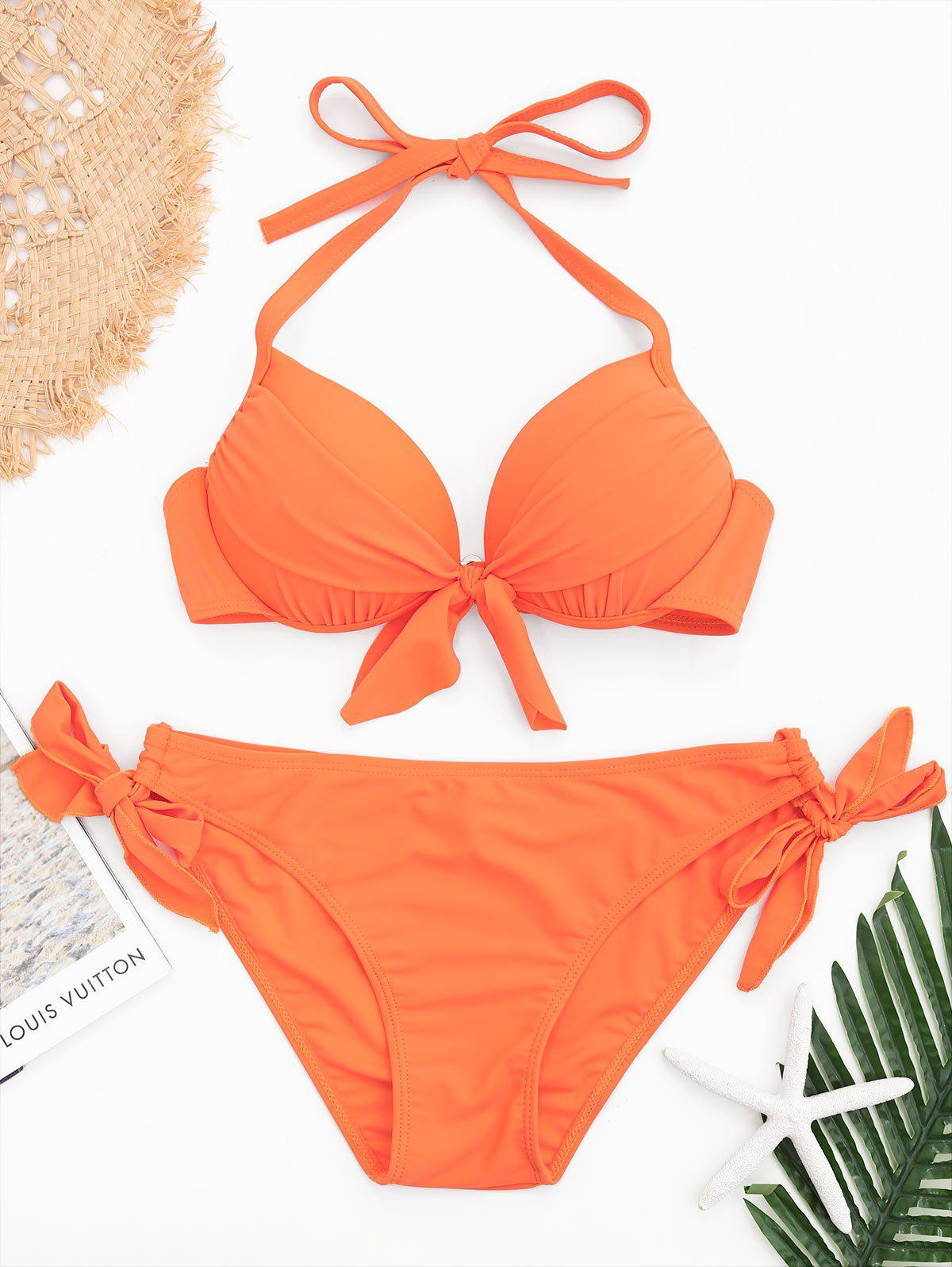 New Halter Underwire Side Tied Bikini Set