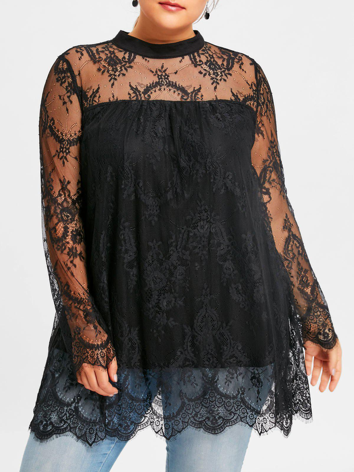 Plus Size Sheer Lace Scalloped Edge BlouseWOMEN<br><br>Size: 2XL; Color: BLACK; Material: Nylon,Spandex; Shirt Length: Long; Sleeve Length: Full; Collar: Mock Neck; Style: Fashion; Season: Fall,Spring; Embellishment: Lace; Pattern Type: Floral; Weight: 0.3000kg; Package Contents: 1 x Blouse;