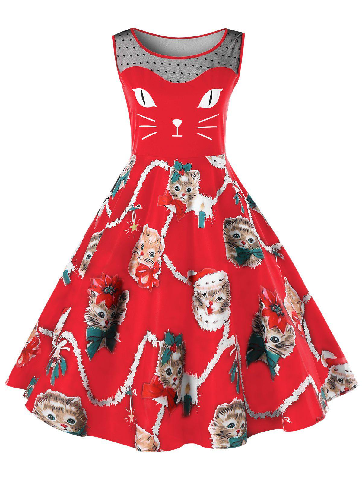 Christmas Plus Size Kitten Pattern Swing DressWOMEN<br><br>Size: 5XL; Color: BRIGHT RED; Style: Vintage; Material: Polyester,Spandex; Silhouette: A-Line; Dresses Length: Knee-Length; Neckline: Round Collar; Sleeve Length: Sleeveless; Pattern Type: Animal; With Belt: No; Season: Fall,Spring,Summer; Weight: 0.3000kg; Package Contents: 1 x Dress;