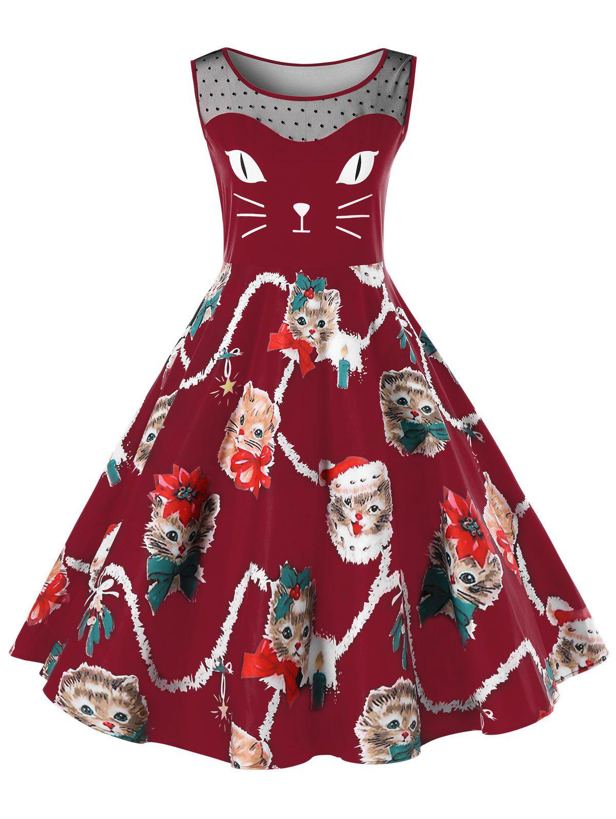 Hot Christmas Plus Size Kitten Pattern Swing Dress