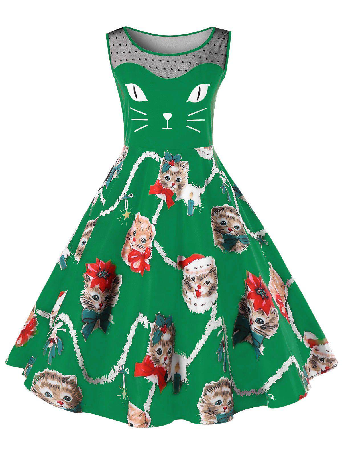 Cheap Christmas Plus Size Kitten Pattern Swing Dress