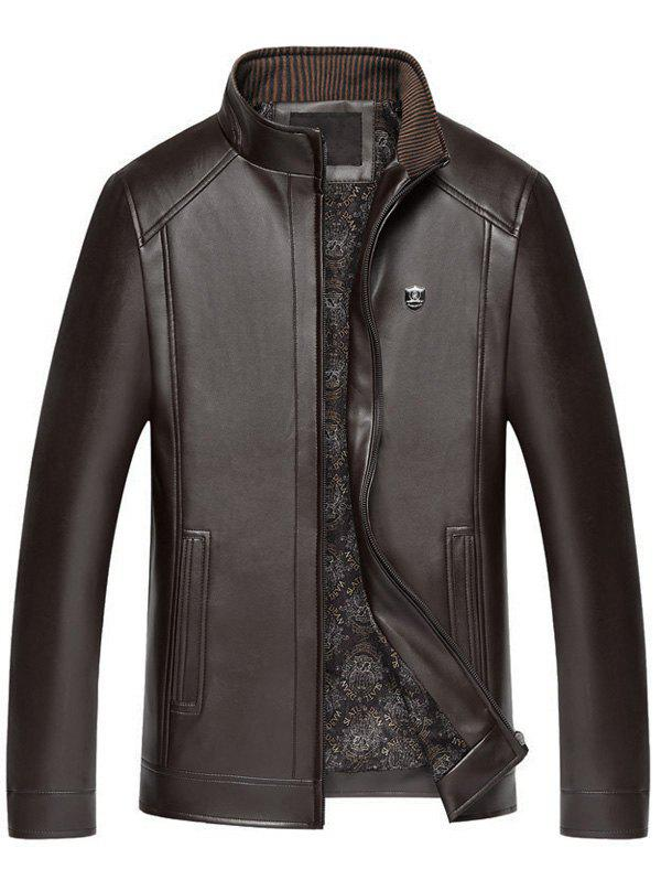 Outfits Faux Leather Badge Zip Up Jacket