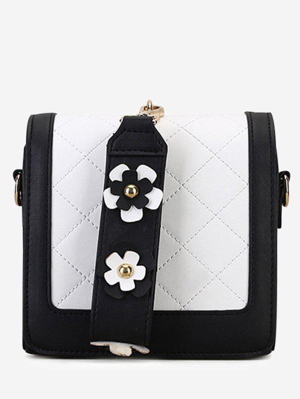 Trendy Quilted Flower Color Blocking Handbag