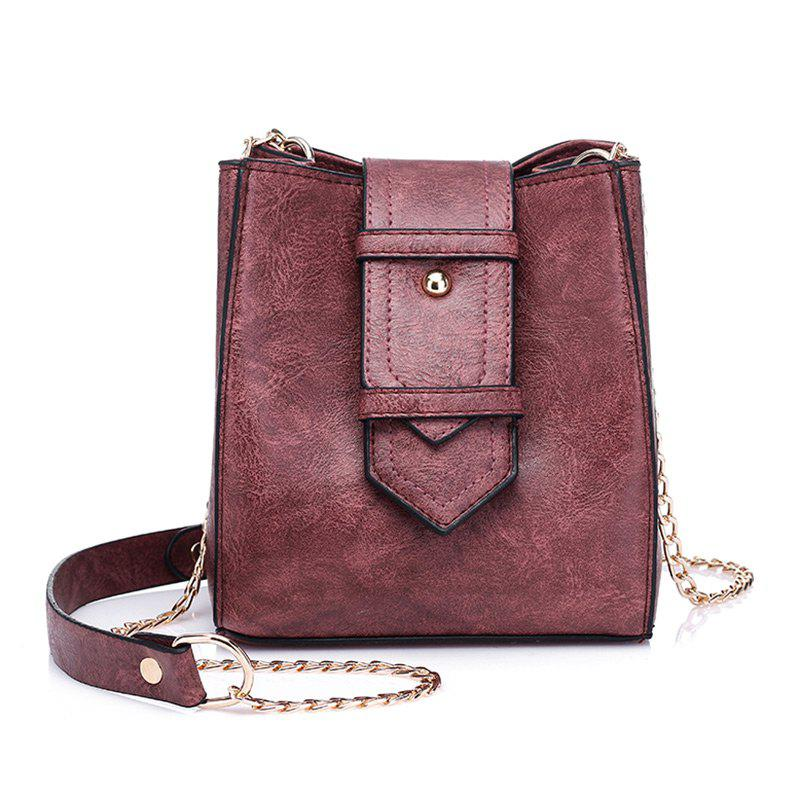 Fancy Buckle Strap Chain Faux Leather Crossbody Bag