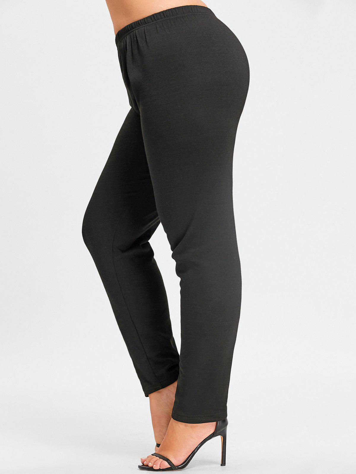 Plus Size Flocking Elastic Waist LeggingsWOMEN<br><br>Size: 3XL; Color: BLACK; Style: Casual; Length: Normal; Material: Acrylic,Polyester; Fit Type: Regular; Waist Type: High; Closure Type: Elastic Waist; Pattern Type: Solid; Pant Style: Pencil Pants; With Belt: No; Weight: 0.3750kg; Package Contents: 1 x Leggings;