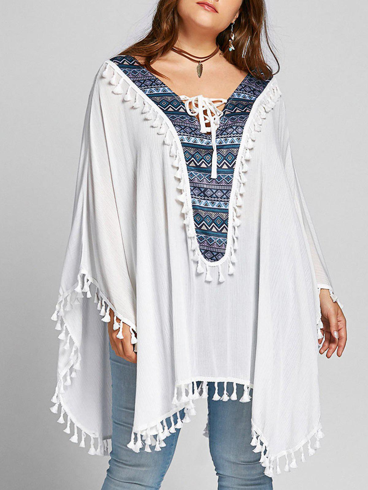 Chic Plus Size Tassel Lace Up Batwing Sleeve Blouse