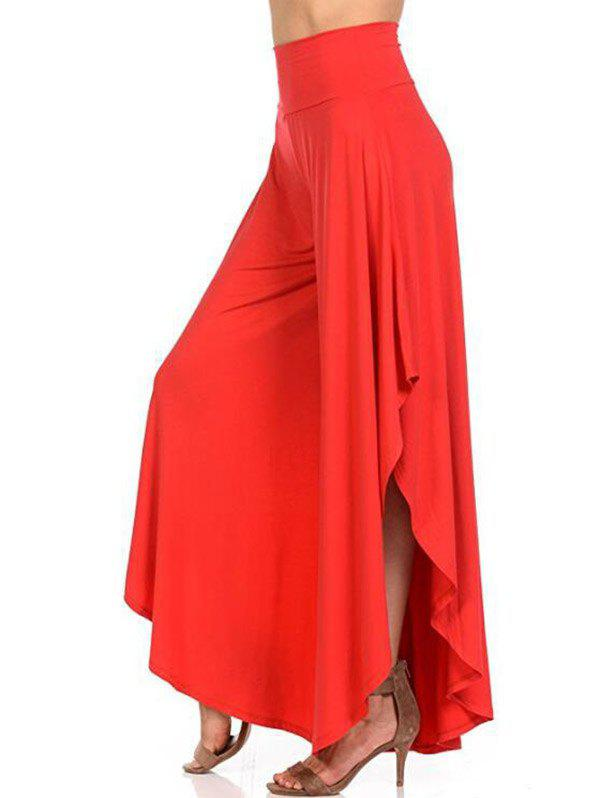 Shop High Waist Flounce Wide Leg Pants