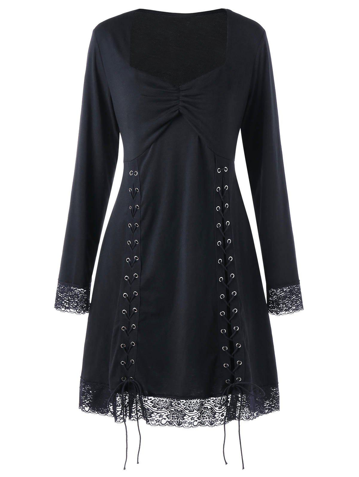 Plus Size Lace Trimmed Tie Up DressWOMEN<br><br>Size: 4XL; Color: BLACK; Style: Brief; Material: Polyester,Spandex; Silhouette: A-Line; Dresses Length: Mini; Neckline: Sweetheart Neck; Sleeve Length: Long Sleeves; Embellishment: Lace; Pattern Type: Solid Color; With Belt: No; Season: Fall,Spring,Winter; Weight: 0.3800kg; Package Contents: 1 x Dress;