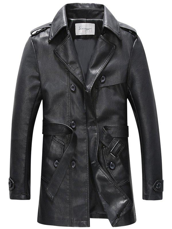 Latest Belt Double Breasted PU Leather Trench Coat