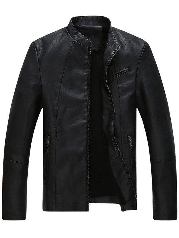 Store Stand Collar Full Zip Faux Leather Jacket
