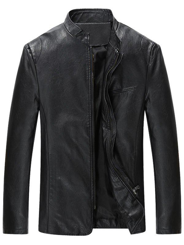 Cheap Grandad Collar Full Zip Faux Leather Jacket
