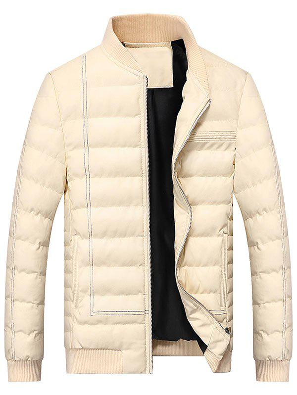 New Zip Up Padded Faux Leather Bomber Jacket