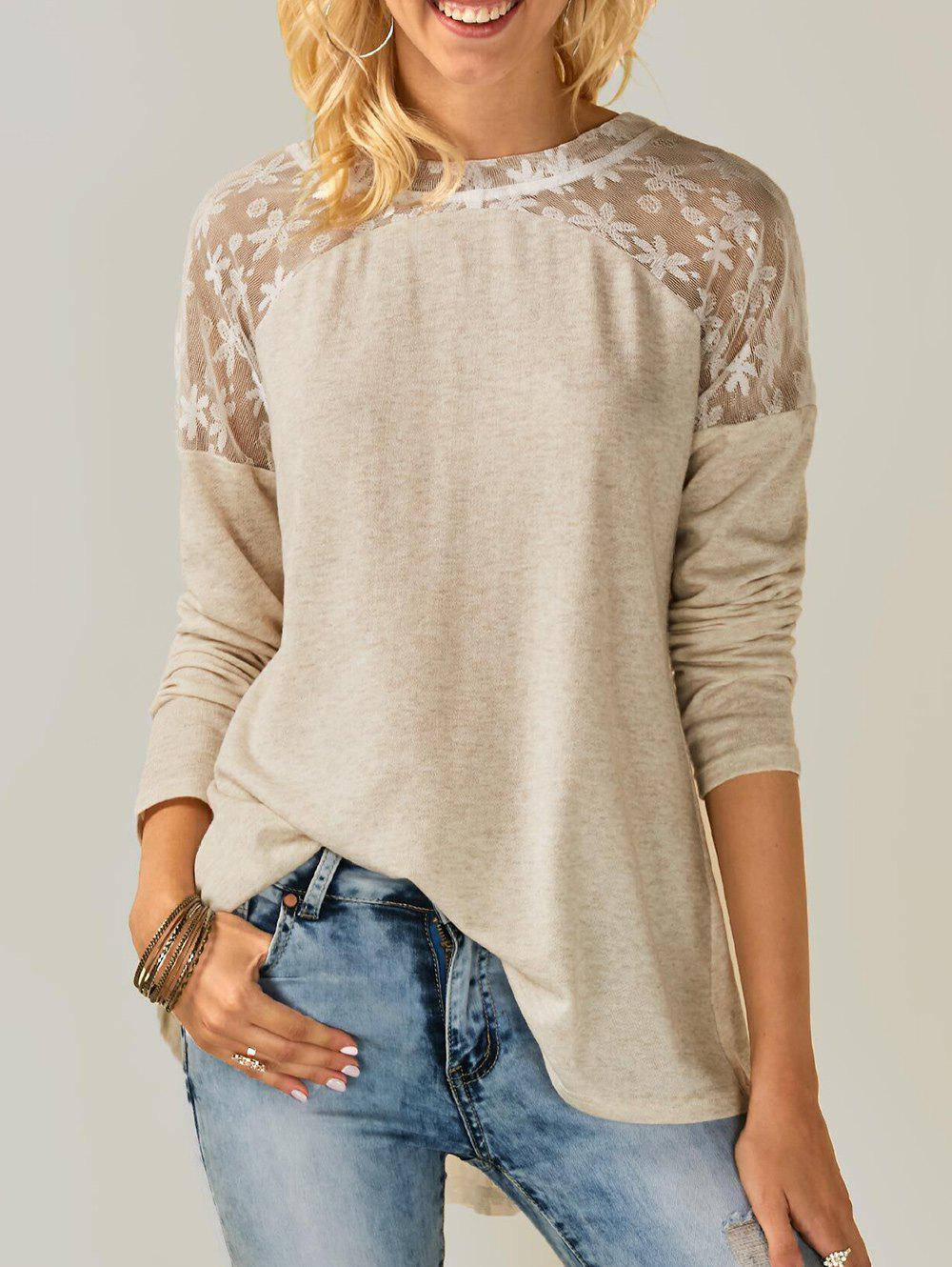 Shops Back Bowknot Embellished Lace Panel T-shirt