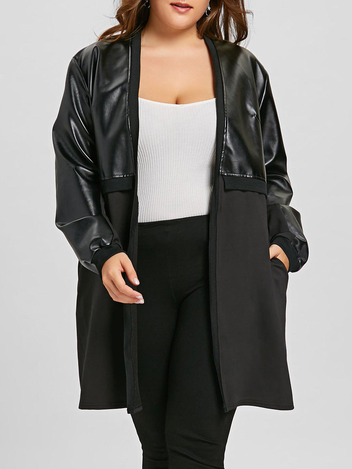 Chic Long Plus Size Faux Leather Insert Coat