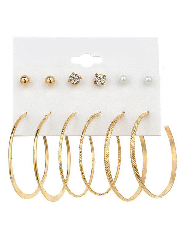 Discount Rhinestone Artificial Pearl Hoop Earring Set